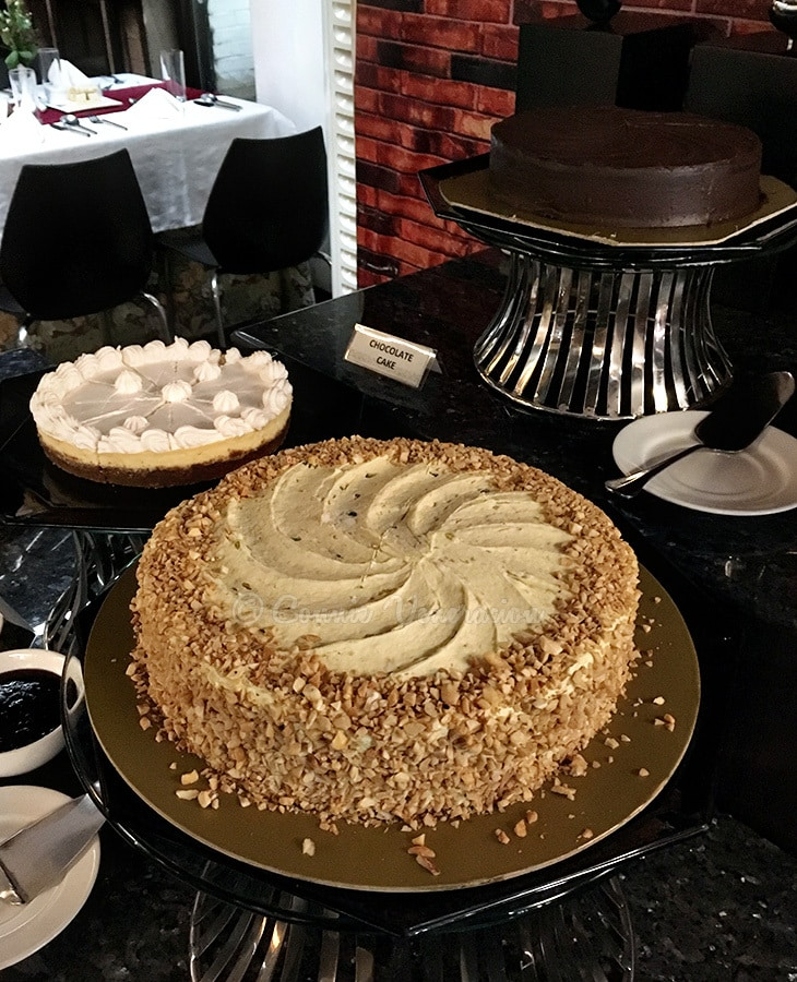 Culinary School Graduation: Legacy Buffet: Sans RIval cake, New York cheesecake, chocolate cake