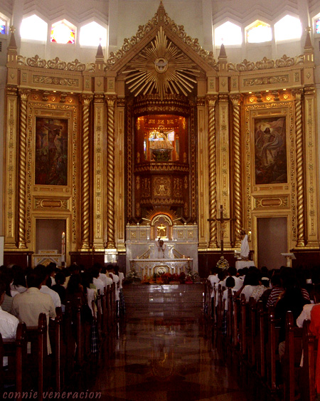 the altar and center aisle of the Antipolo Cathedral