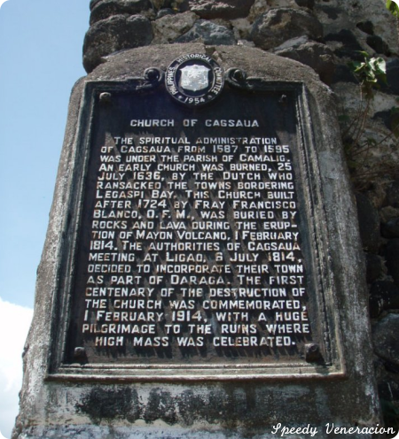 A commemorative tablet of the Cagsaua Church