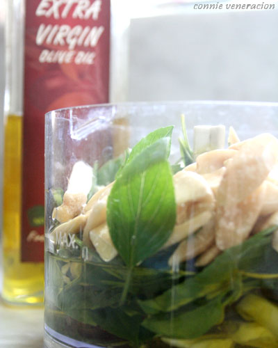casaveneracion.com pinoy pesto - basil leaves, olive oil, pepper, anchovies, pili nuts and kalamansi juice