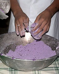 casaveneracion.com bamboo tubes are filled with purple colored ground glutinous rice, or galapong