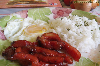 fried rice, egg and tocino