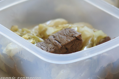 casaveneracion.com packed school lunch - nilagang baka (boiled beef) with cabbage wedges