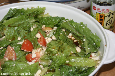casaveneracion.com a salad with romain lettuce, tomatoes and feta cheese