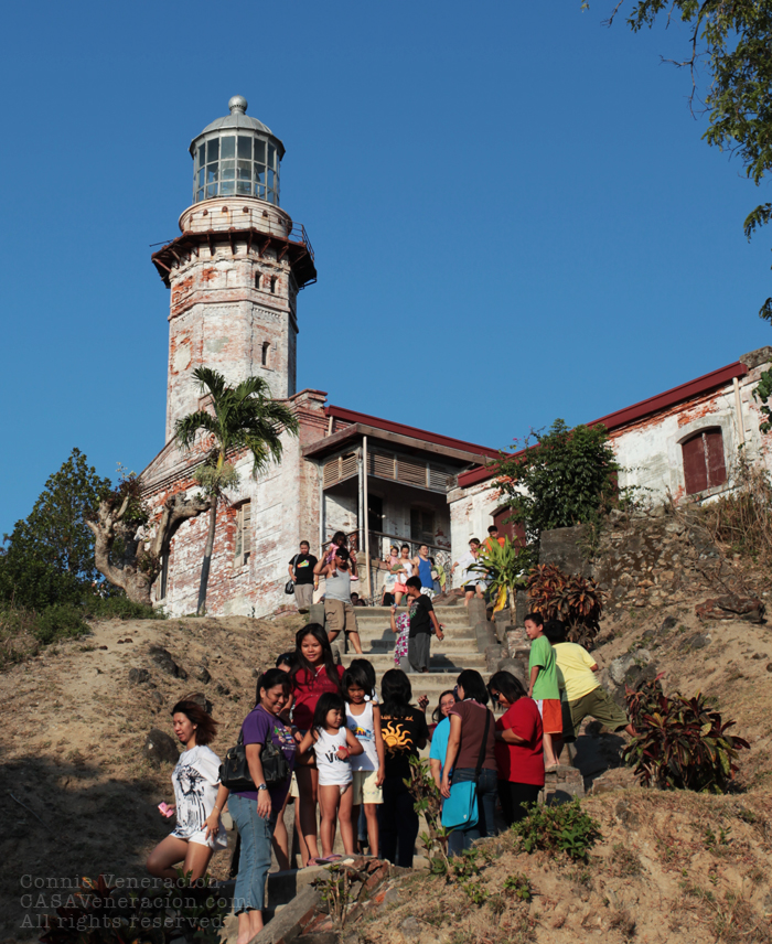 Cape Bojeador (Burgos Lighthouse) teeming with tourists in the summer