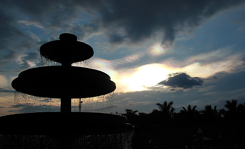 At The Ruins in Talisay, Negros Occidental: the silhouette of a fountain against the late afternoon sky