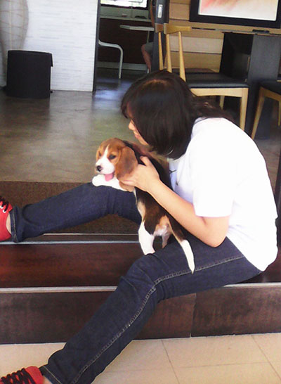 Alex and Penny, our beagle
