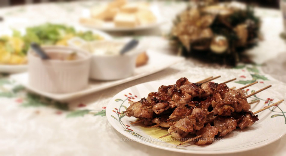 Christmas Eve 2013, sometime before midnight: pan-grilled skewered chicken brushed with the same strawberry vinaigrette