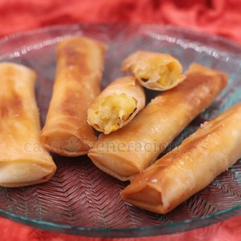 Turon is a sweet spring roll with ripe banana filling