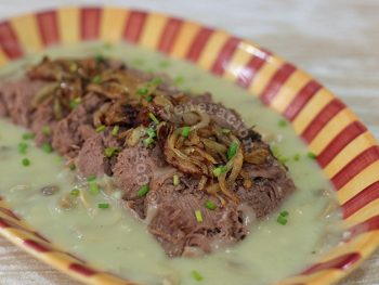 Ox Tongue (Lengua) in Mushroom Sauce