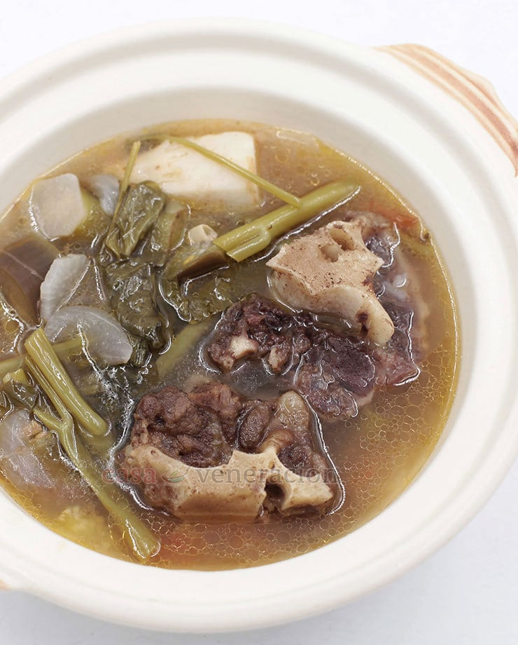 Sinigang na buntot ng baka, or oxtail sinigang, is not as common as its pork tail sibling. It takes much longer to tenderize oxtail but waiting is worth it.