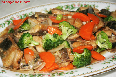 Bangus (milkfish) and broccoli stir fry