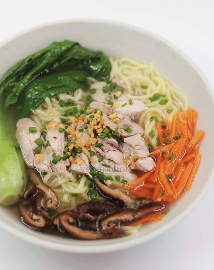 The Filipino version of Chinese noodle soup, chicken mami is ultra flavorful when you season the ingredients separately. And use chicken bone broth. Always.