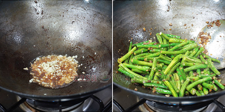 Chicken Livers and String Beans Stir Fry (Keto Friendly Recipe) step 2: Saute plenty of chopped garlic, add the string beans and marinade