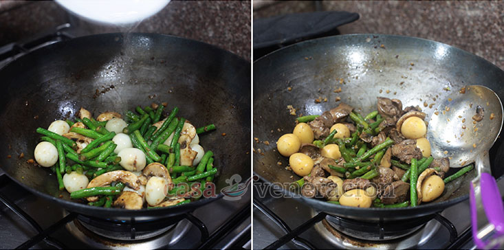 Chicken Livers and String Beans Stir Fry (Keto Friendly Recipe) Step 4: Pour in a little water and cover the pan