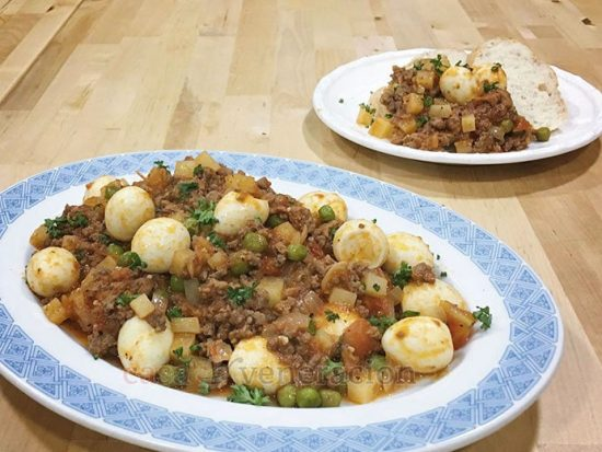 A spin on Filipino menudo, this ground beef and quail eggs dish was inspired by carinderia fare. But instead of the usual hard-boiled chicken eggs that serve as an inexpensive extender, I used quail eggs the size of which go with the ground beef better.