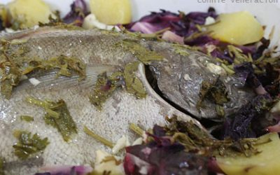 Baked pompano and red cabbage