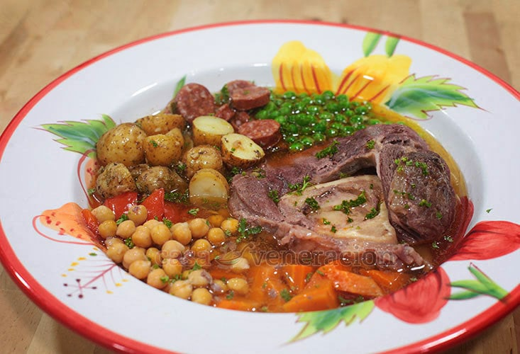 Soanish Cocido-inspired Beef Stew With Shank, Chorizo, Potatoes, Peas, Carrot and Chickpeas