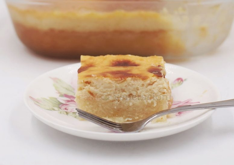 Grated cassava is mixed with sugar, milk and coconut milk, and baked until lightly browned. Coconut custard is poured over the cake and back into the oven it goes until the custard is nicely browned. Cassava bibingka (cake) with coconut custard topping is a lovely introduction to Filipino desserts.