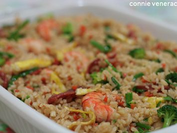 Baby prawns and broccoli fried rice with oyster sauce