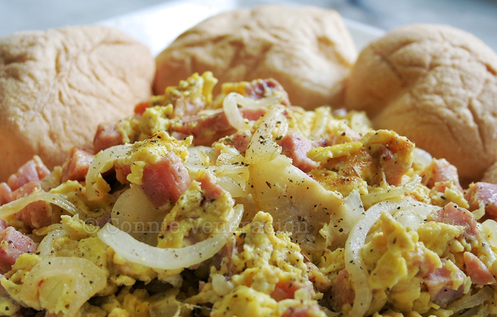 Ham Eggs scrambled eggs with ham and onions casa veneracion