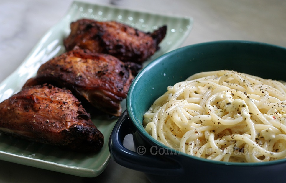 Pasta Alfredo and Grilled Chicken
