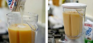 Adding milk to pureed mango and melon in blender