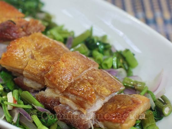 Roast Pork Belly With Water Spinach (Lechon con Kangkong)