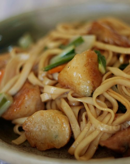 Stir fried noodles with fish balls and kikiam