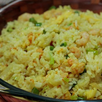 Yellow fried rice with shrimps and coconut cream