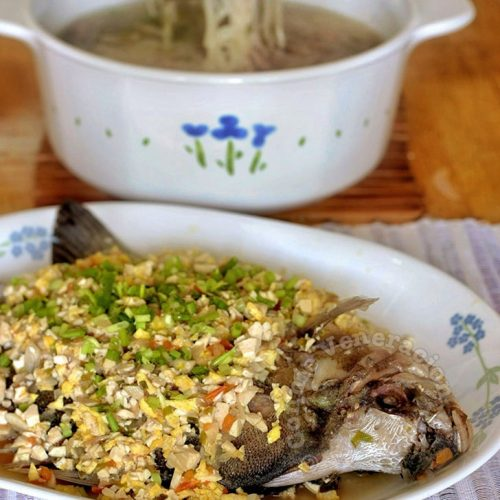 Pan-fried whole fish with tofu-egg salsa
