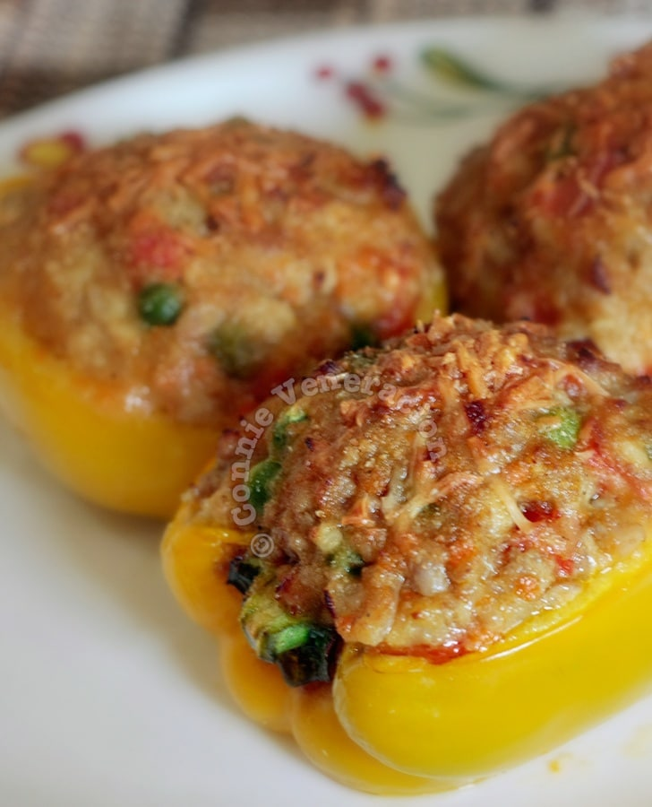 Stuffed Bell Peppers: Do red, yellow and green bell peppers taste differently from one another? I don't know if it's just my imagination but green bell peppers seem to be the most aromatic while the yellow ones seem to taste the sweetest. But whatever color of bell peppers you choose to stuff, they'll taste great with this cheesy filling.