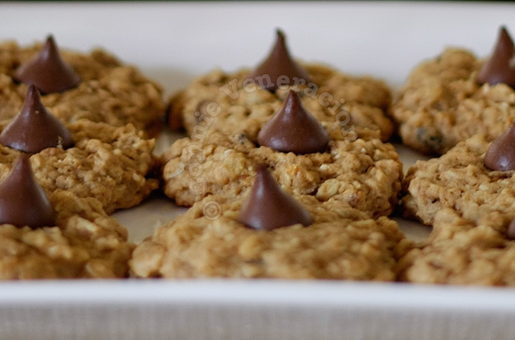Chocolate-kissed muesli cookies