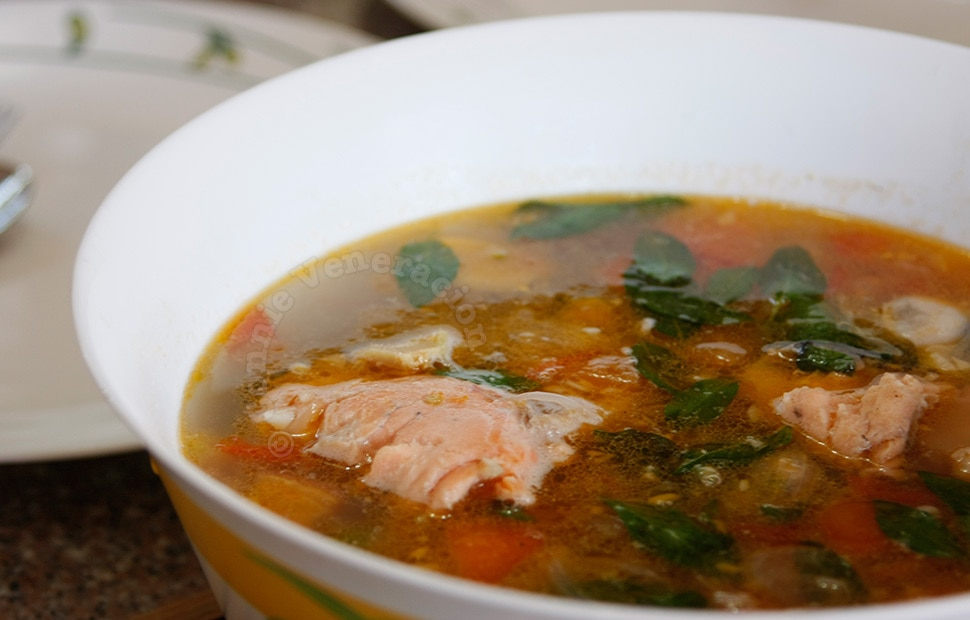 Salmon and tomato soup | casaveneracion.com
