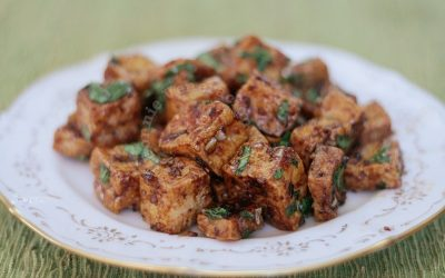 Sweet and sticky tofu with three sauces