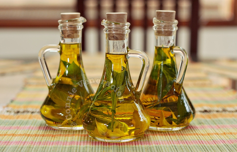 Herb-infused olive oil may be used to make herbed croutons