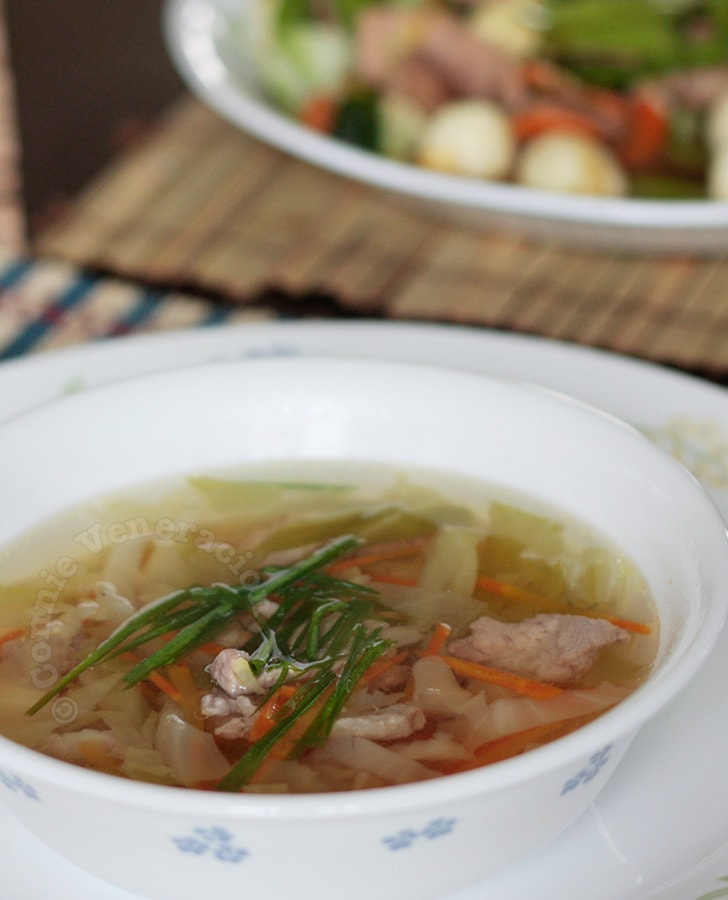 Pork and cabbage soup with homemade bone broth