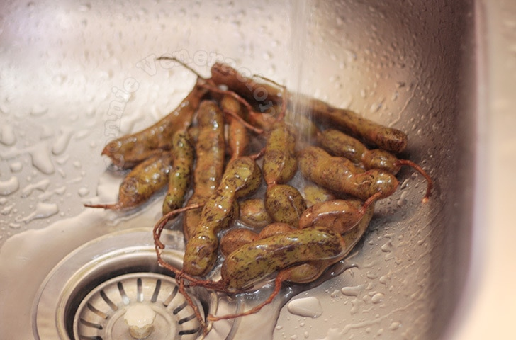 How to extract tamarind juice: rinse the tamarind thoroughly