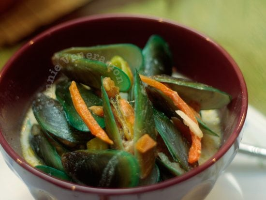 Thai mussel soup with coconut milk