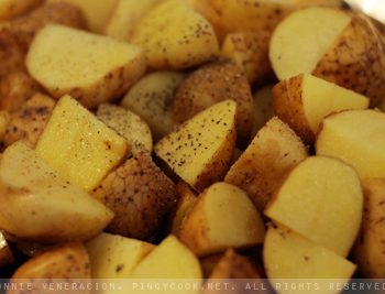 Roast pork with baked potatoes