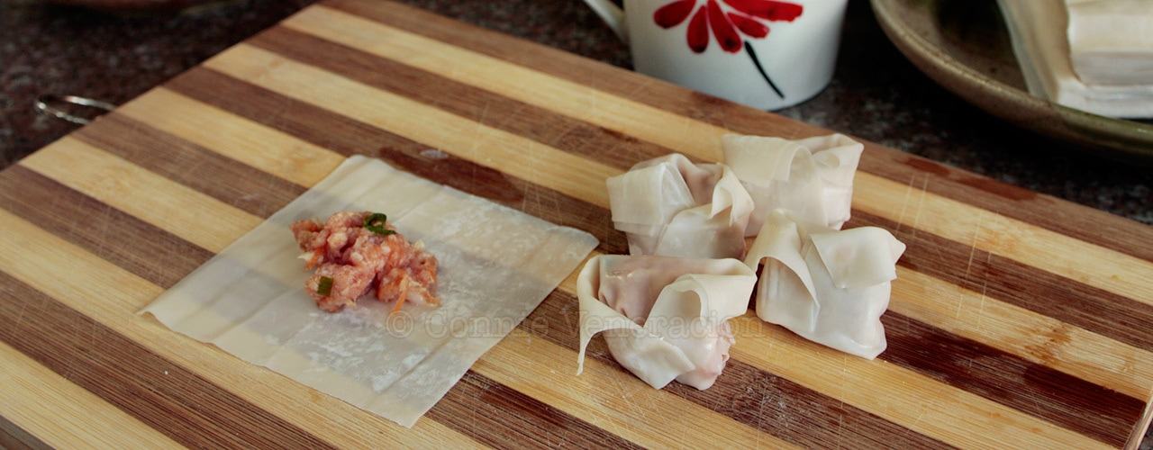 How to wrap and fold wontons, Kylie Kwong style | casaveneracion.com