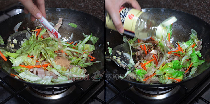 Yakisoba: Japanese Stir Fried Noodles Recipe, Step 2: Add a packet of dashi. Pour in sake and mirin.