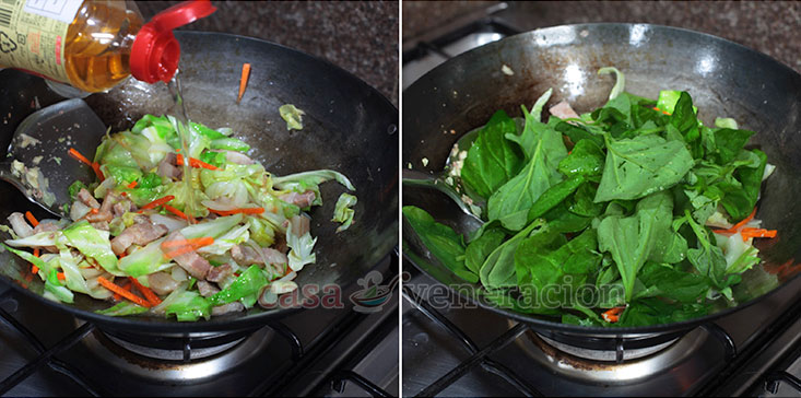 Yakisoba: Japanese Stir Fried Noodles Recipe, Step 3: Optionally, add spinach.