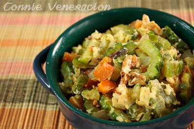 Sauteed ampalaya (bitter gourd / melon) with dried shrimps and eggs
