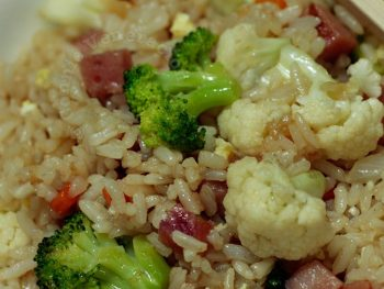 Chinese style fried rice with ham, broccoli and cauliflower