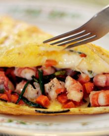 Shrimp and chive omelet