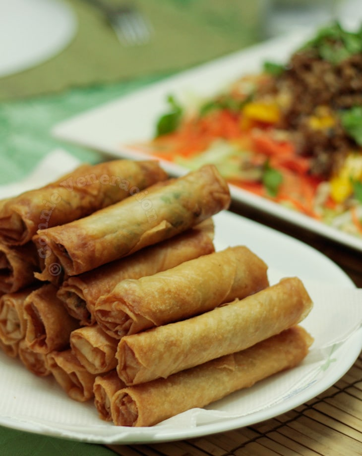 Fish and coconut spring rolls