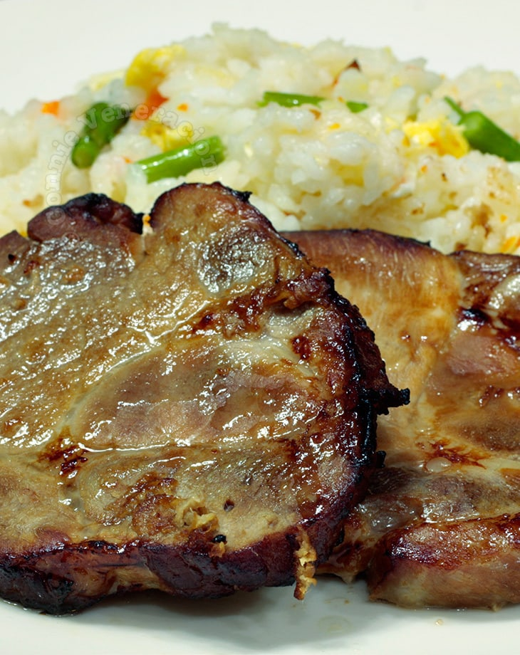 Pork steak teriyaki and asparagus fried rice
