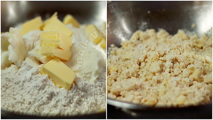 A recipe for a double-crust pie with step-by-step illustrated instructions on making and rolling dough, laying it on the pie dish and trimming the edges.