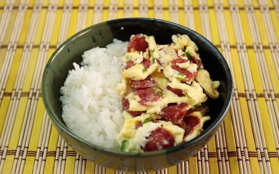 Chinese Sausage and Scallion Omelet